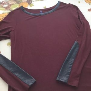 NYDJ Burgundy Shirt with Faux Leather Trim